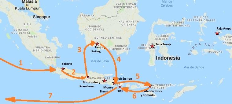 Ruta de viaje a Indonesia, por Java, Borneo, Bali y Flores